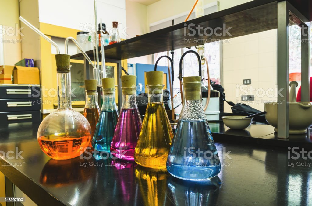 Some laboratory flasks stock photo