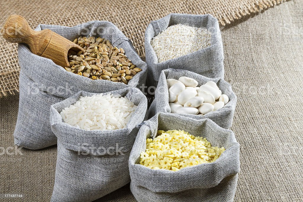 Some linen bags with spices royalty-free stock photo