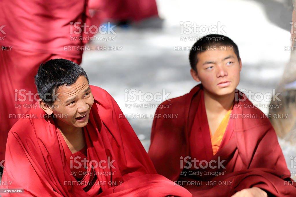 Some monks debating. Sera monastery-Tibet. 1292 stock photo