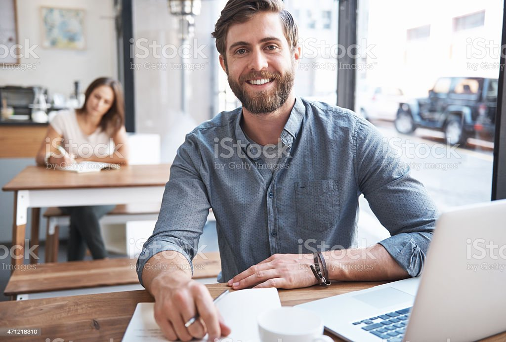 Some of his best ideas happen outside the office stock photo
