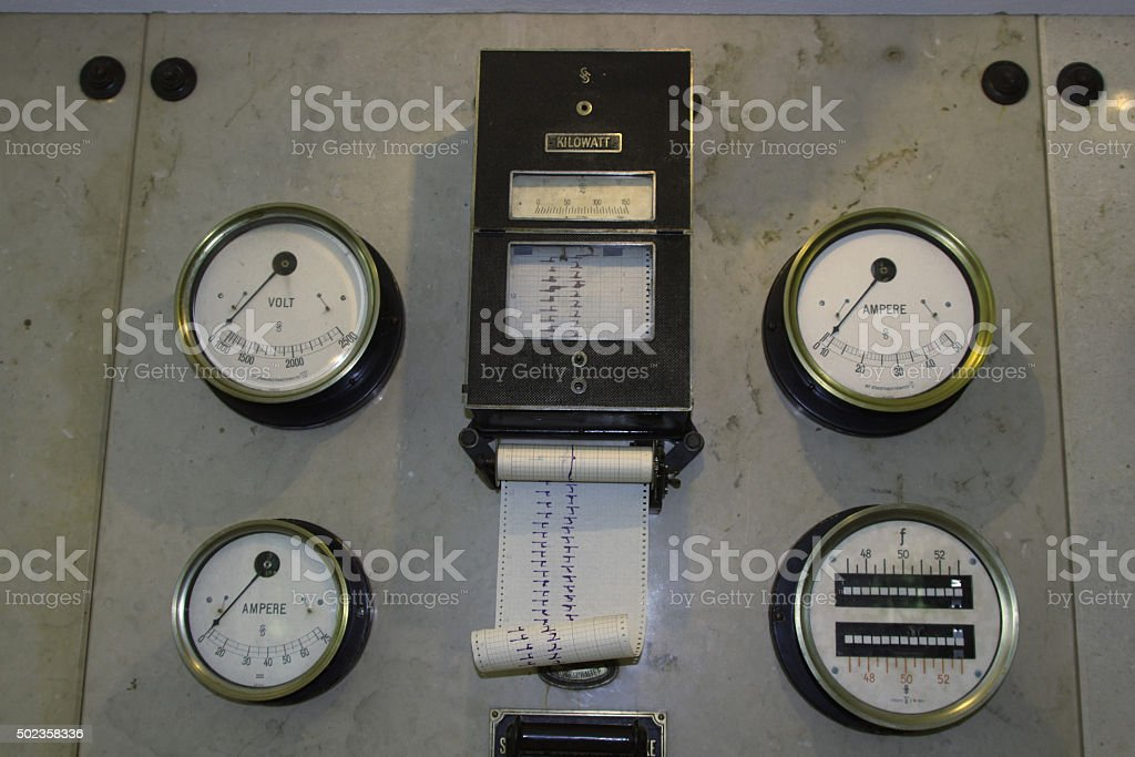 Some of old electrical devices stock photo
