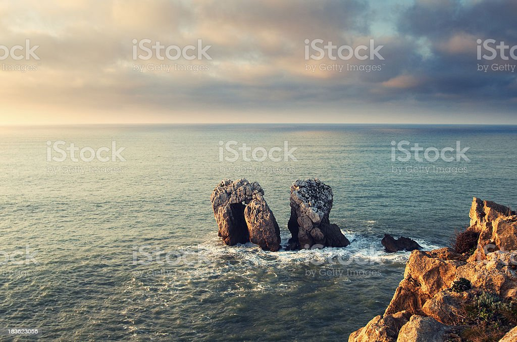 Some rocks in the sea, Cantabric door, Spain stock photo