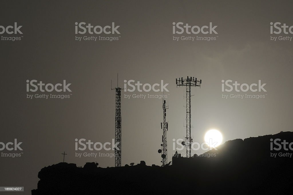 Some Silhouetted Antennas royalty-free stock photo