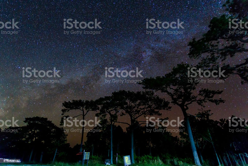 Some stars and milky way in the night stock photo