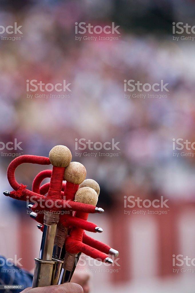 Some swords of fighting during bullfighting celebration, Spain stock photo