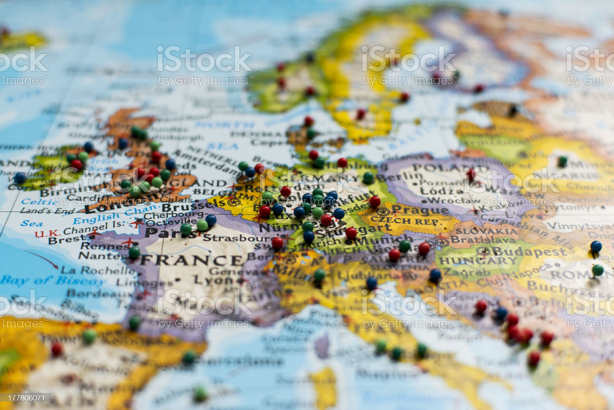 Some thumbtack on the map royalty-free stock photo