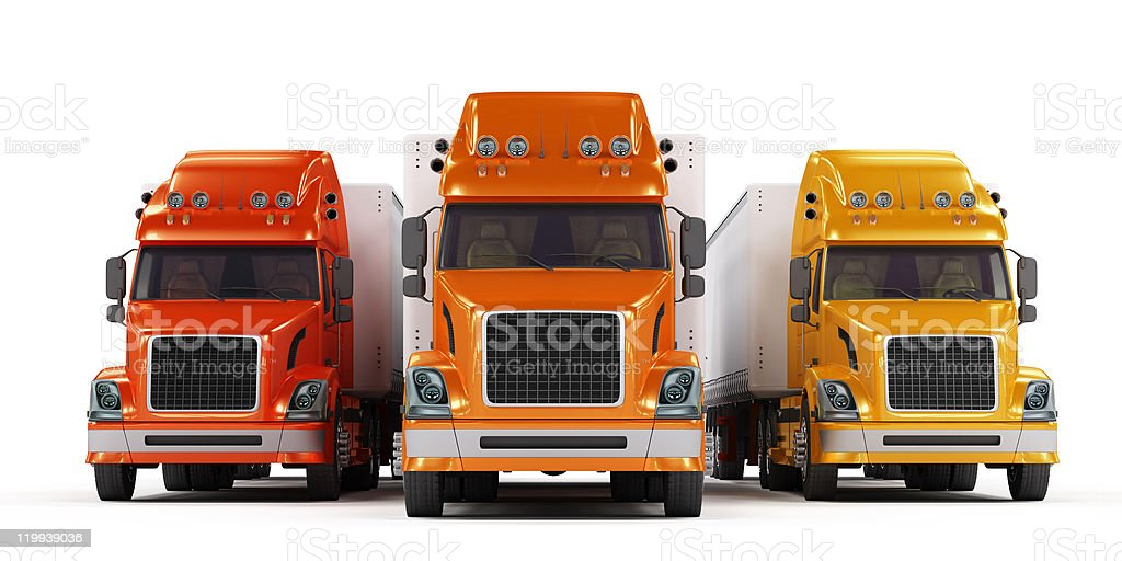 Some trucks presentation isolated on white stock photo