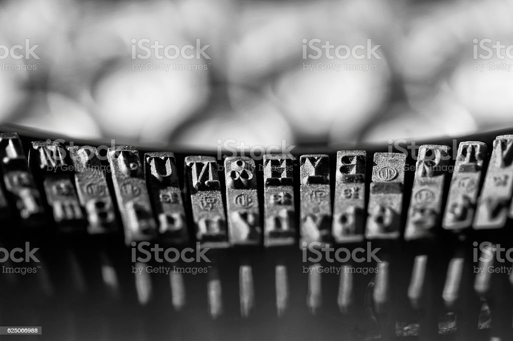 Some type bars of a typewriter. stock photo