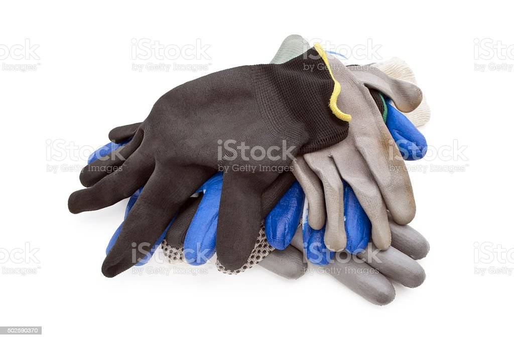 some work gloves isolated stock photo