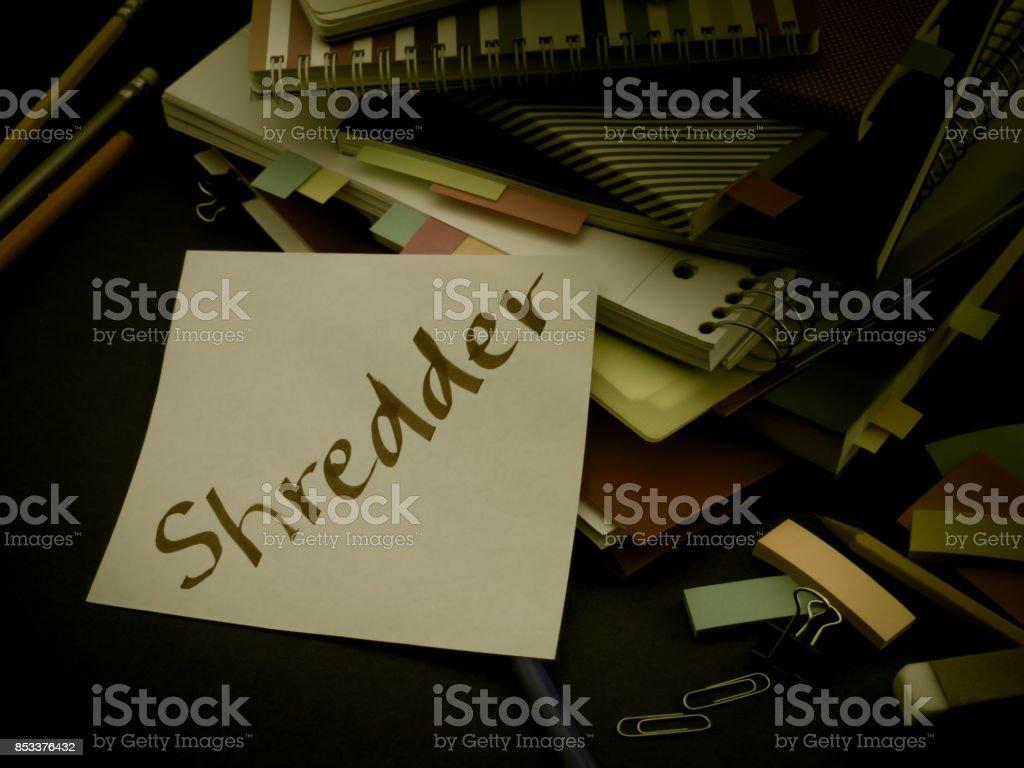Somebody Left the Message on Your Working Desk; Shredder stock photo