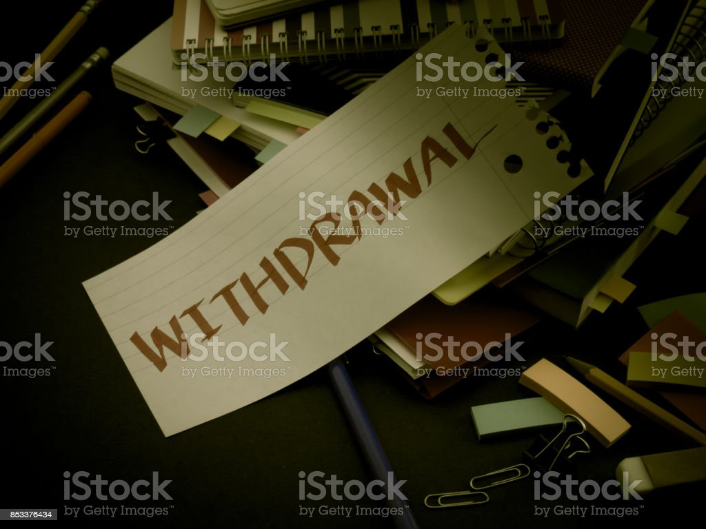 Somebody Left the Message on Your Working Desk; Withdrawal stock photo