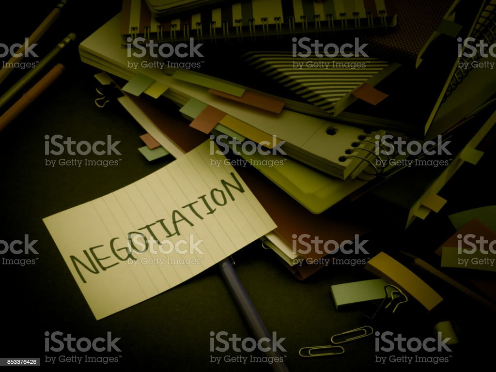 Somebody Left the Message on Your Working Desk;Negotiation stock photo