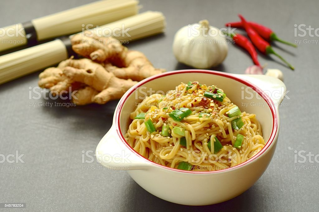 Somen noodle with sesame ginger soy sauce stock photo
