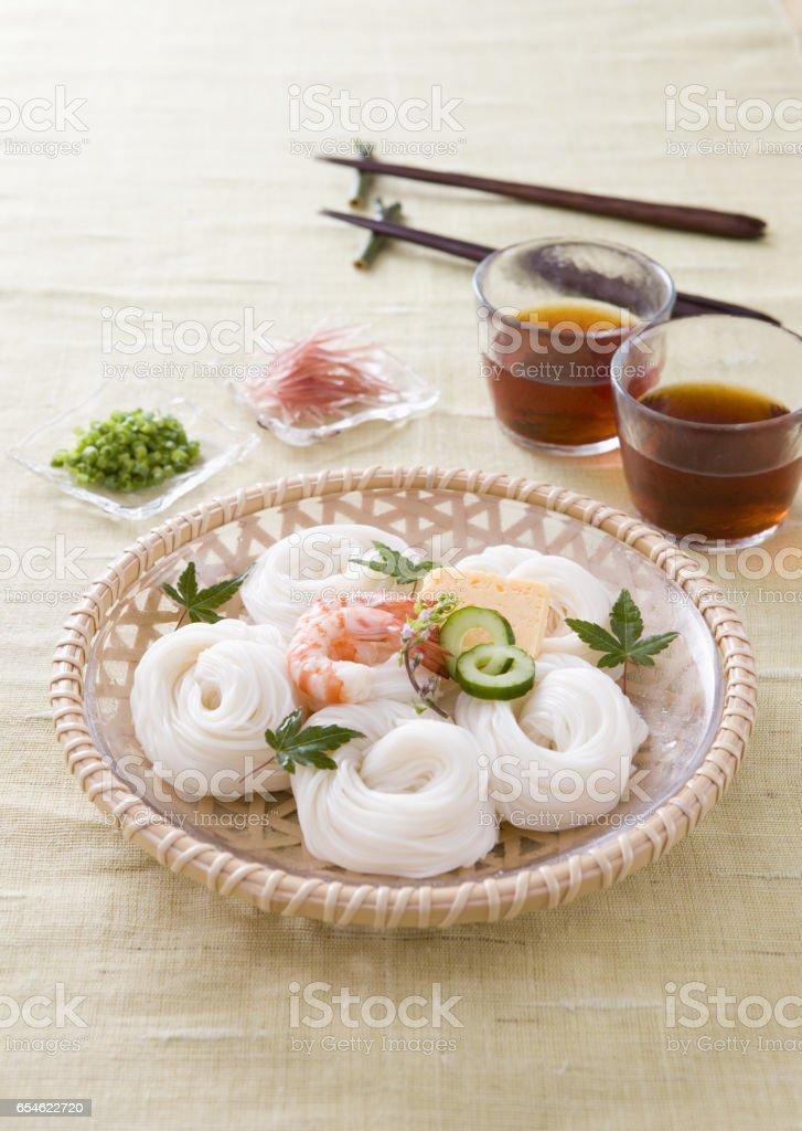 Somen noodles stock photo