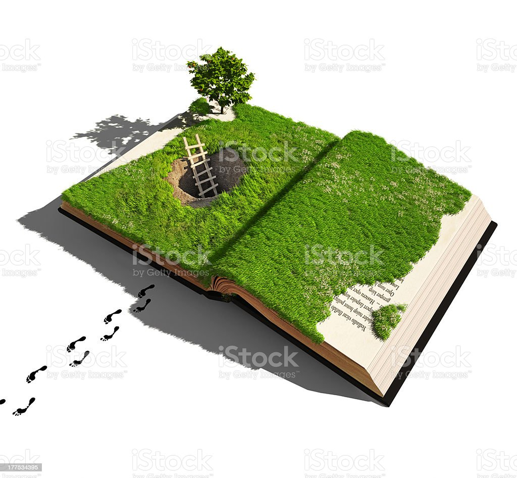 Someone has climbed out of a hole in an overgrown book stock photo