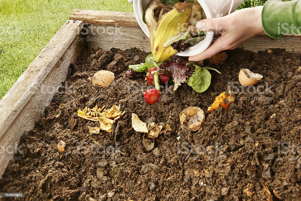 Someone pouring food scraps to composite royalty-free stock photo