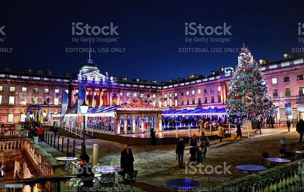Somerset House at Christmas stock photo