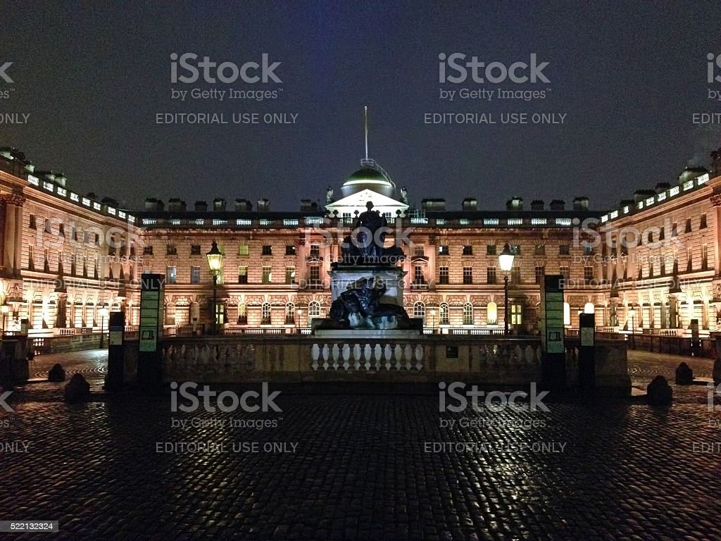 Somerset House at night, London, UK stock photo