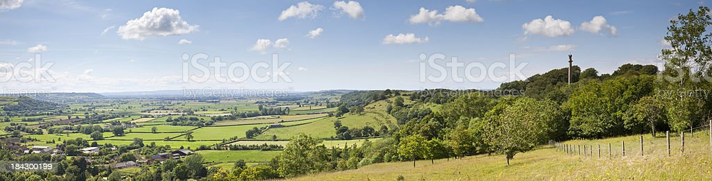 Somerset Levels in summer viewed from Polden Hills near Glastonb stock photo