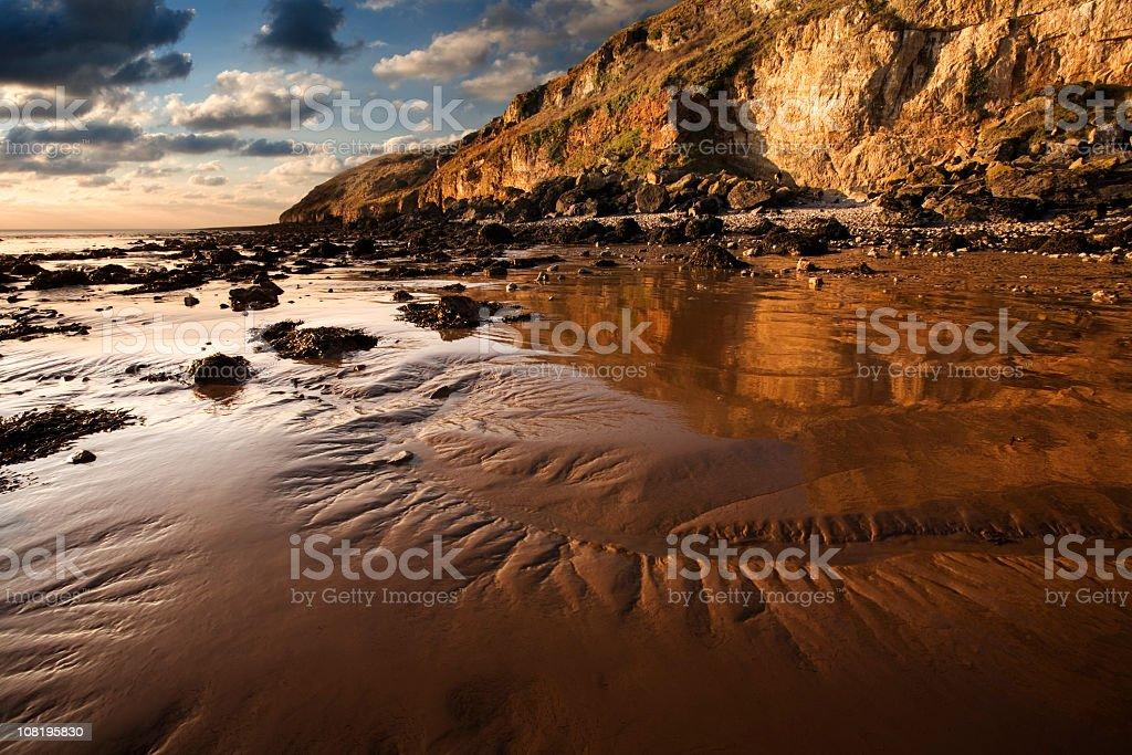 Somerset Sunset on Rocky Coastline and Beach royalty-free stock photo