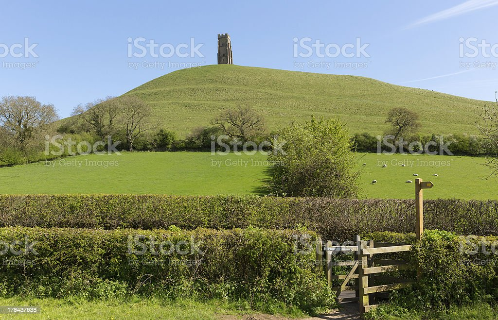 Somerset tourist attraction Glastonbury Tor England stock photo