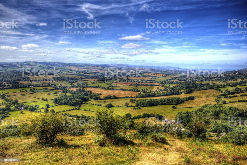 Somerset view from Quantock Hills towards Bristol Channel HDR stock photo