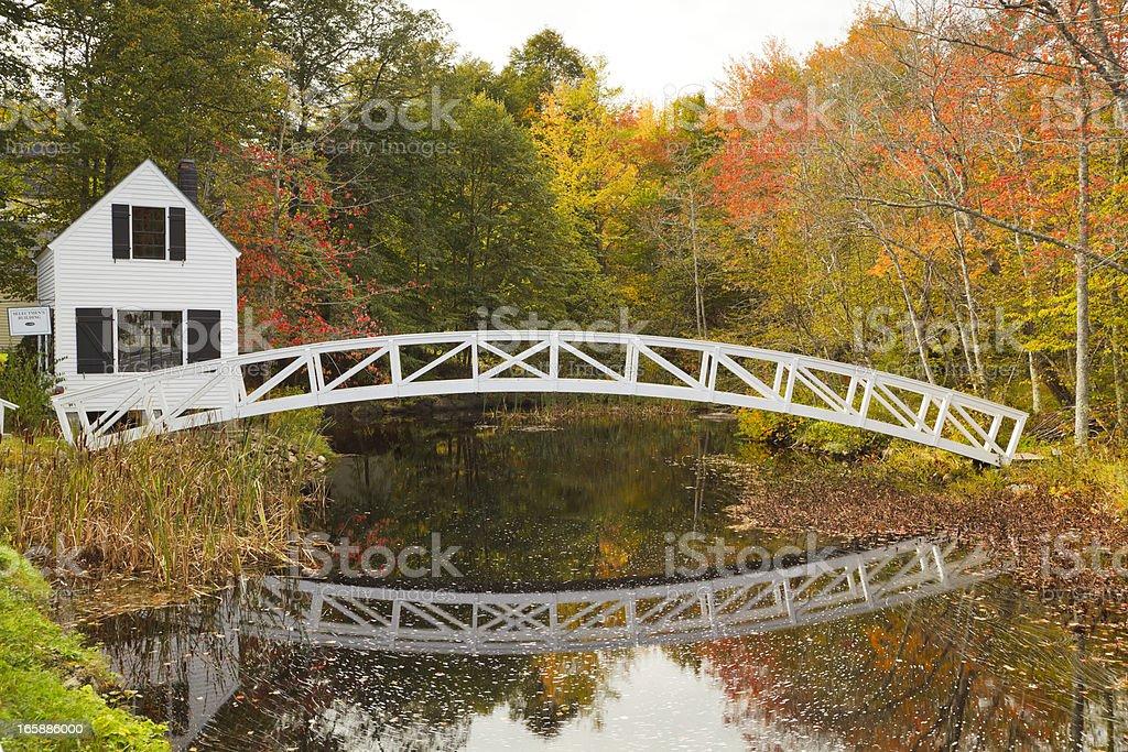 Somesville Bridge in Autumn, Mount Desert Island, Maine stock photo