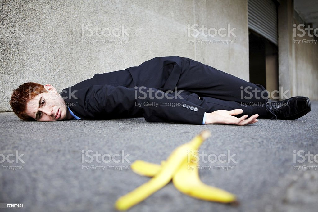 Sometimes banana skins are unavoidable stock photo