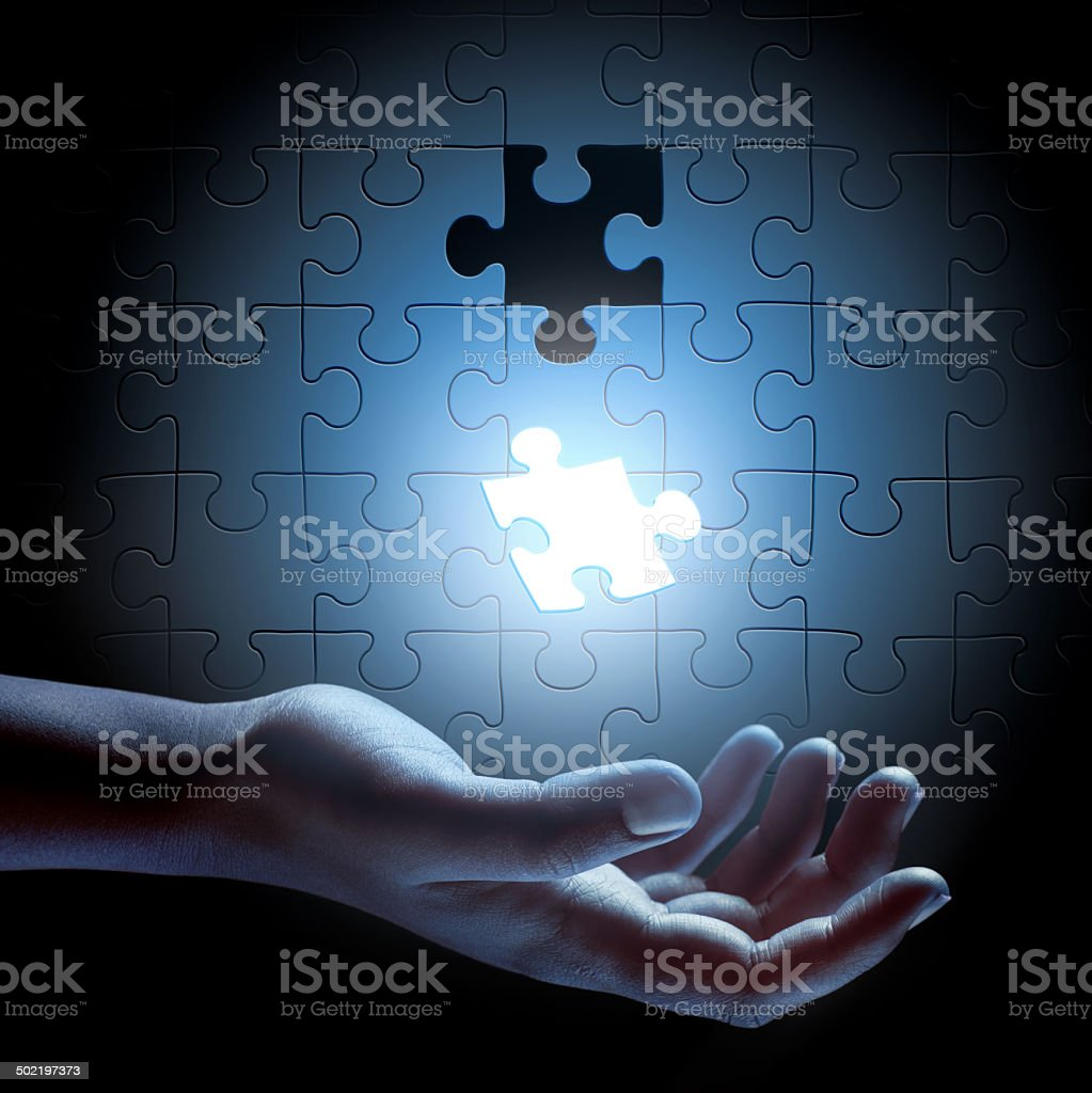 Sometimes the solution just falls into your hand stock photo