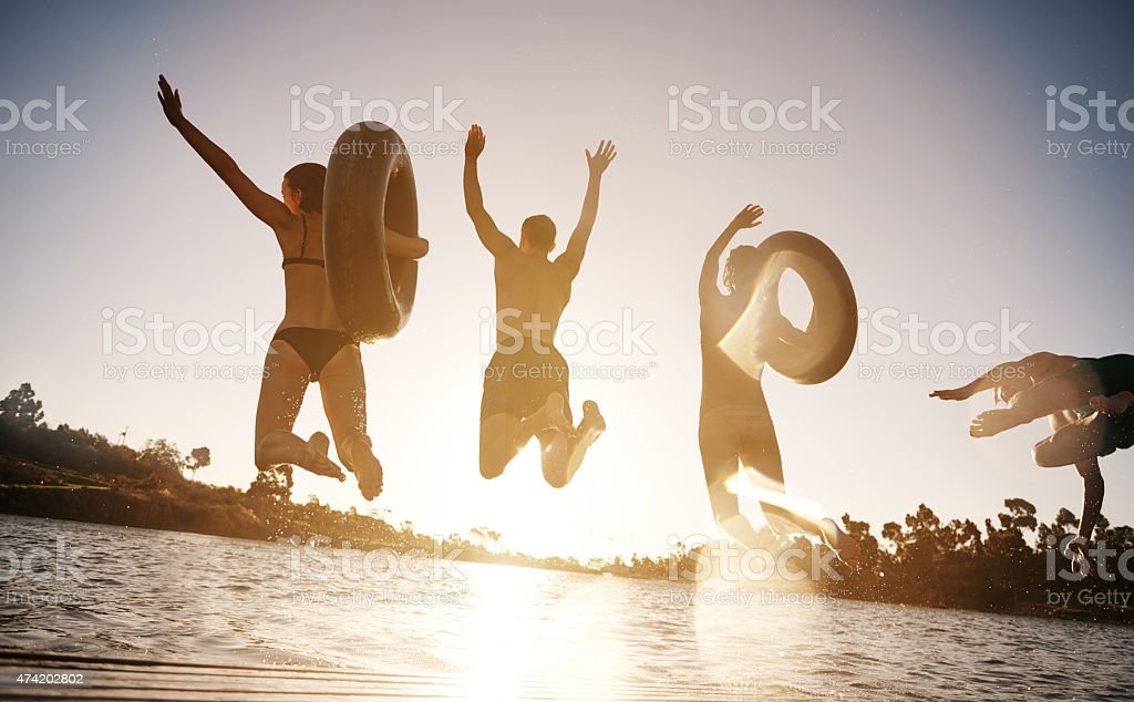 Sometimes you just need a leap of faith stock photo