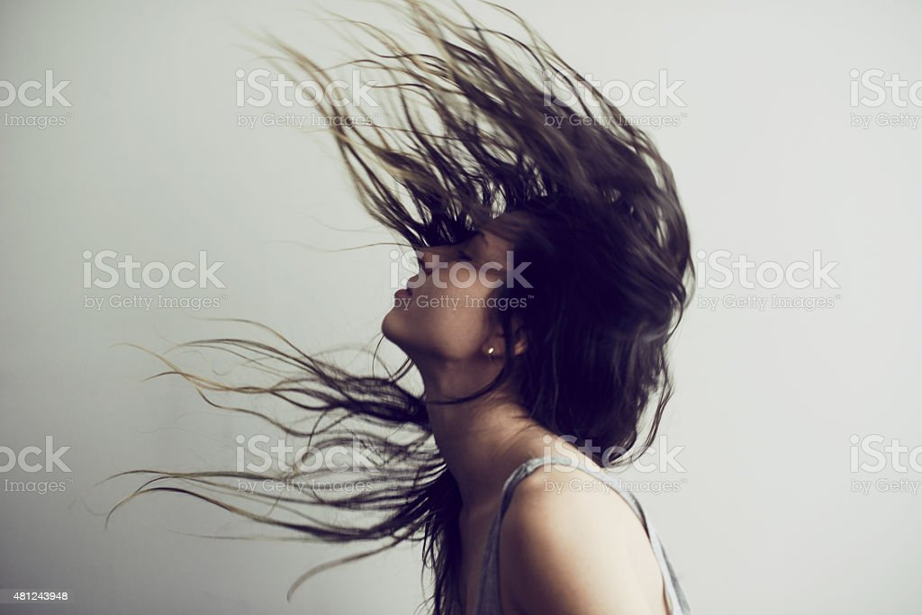 Sometimes your hair needs to express itself stock photo