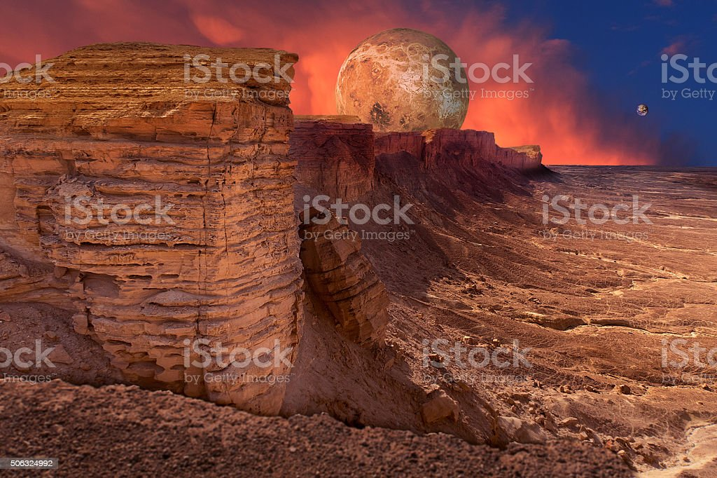 Somewhere in space: three planets stock photo