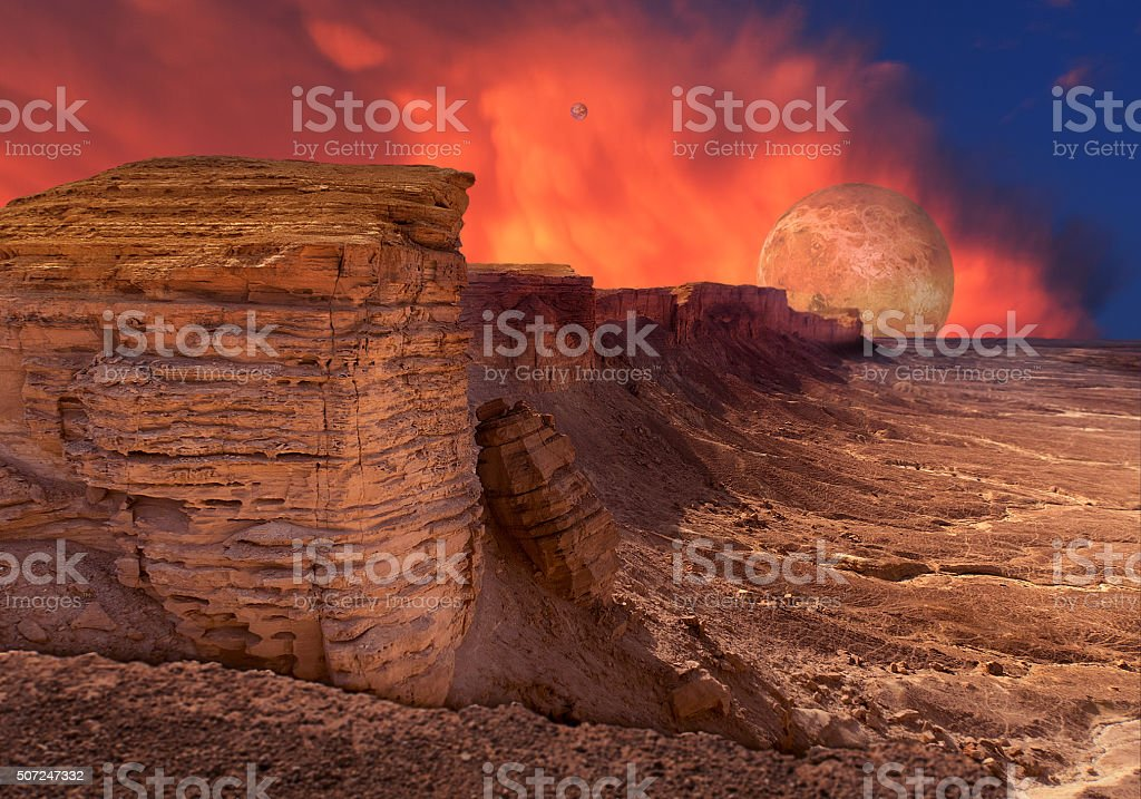 Somewhere on a planet in outer space stock photo