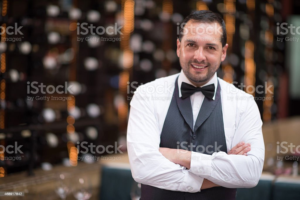 Sommelier at a wine cellar stock photo