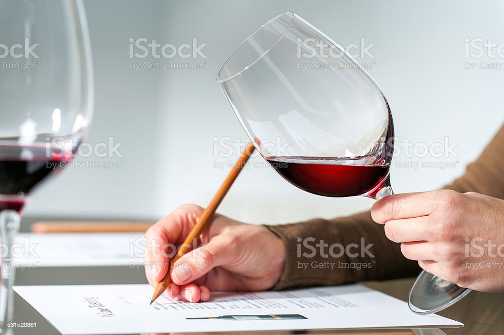 Sommelier evaluating red wine. stock photo