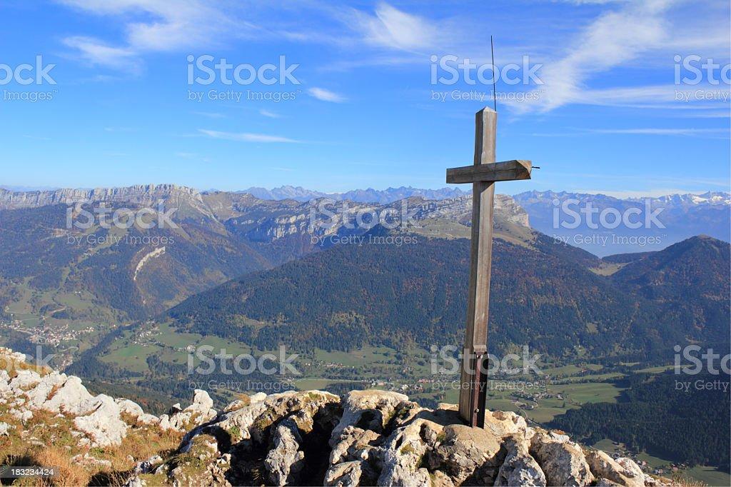 Sommet du Pinet Cross in the top - (1867m) stock photo