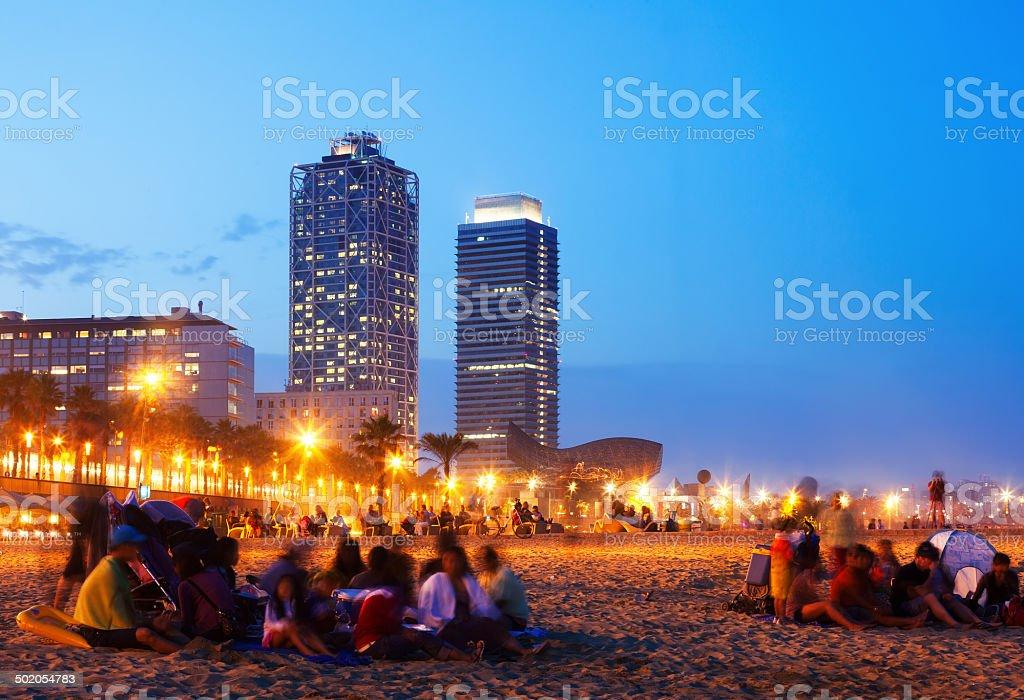 Somorrostro Beach   in Barcelona, Spain stock photo