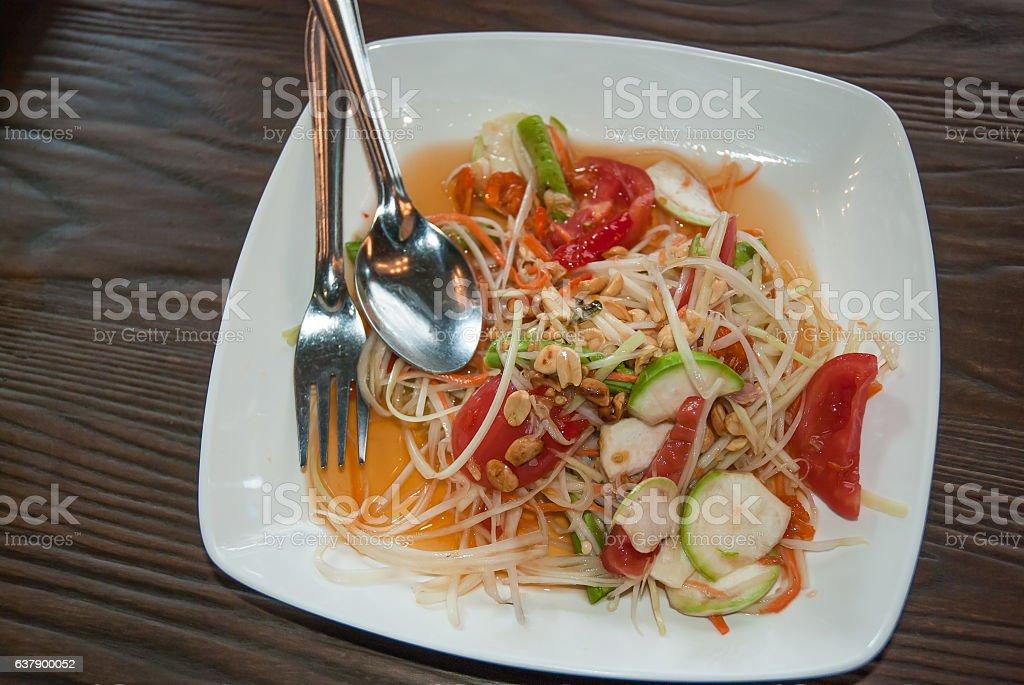 Somtam, Green papaya salad, Thai cuisine stock photo