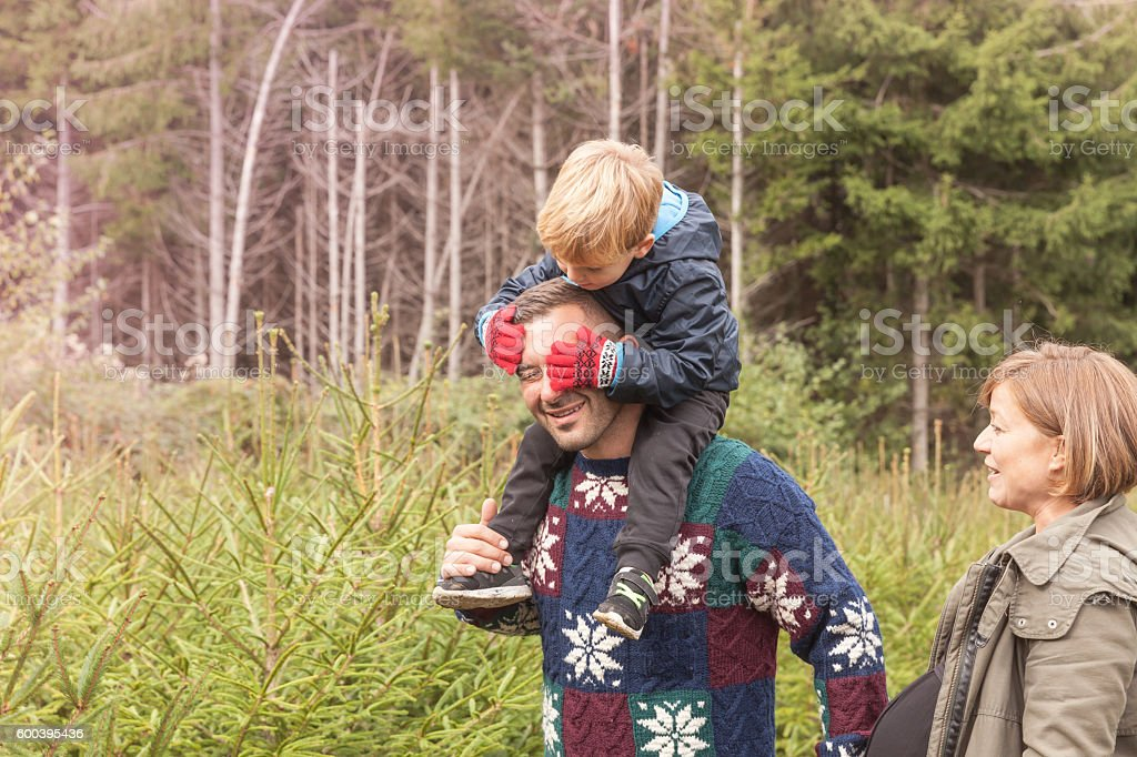 Son and dad playing in the woods - christmas time stock photo