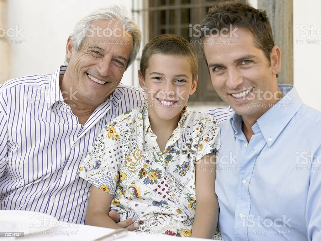 Son father and grandfather royalty-free stock photo