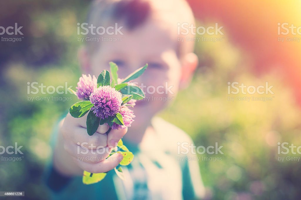 Son gives mom flowers stock photo