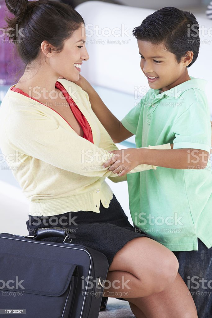Son Greets Mother On Return From Work royalty-free stock photo