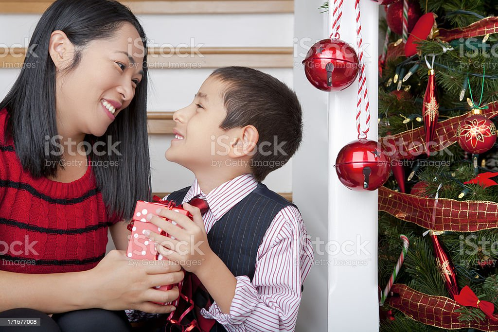 Son surprise mother with christmas gift royalty-free stock photo