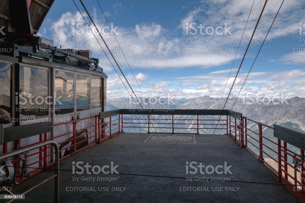 Sondrio summer cableway. Color image stock photo
