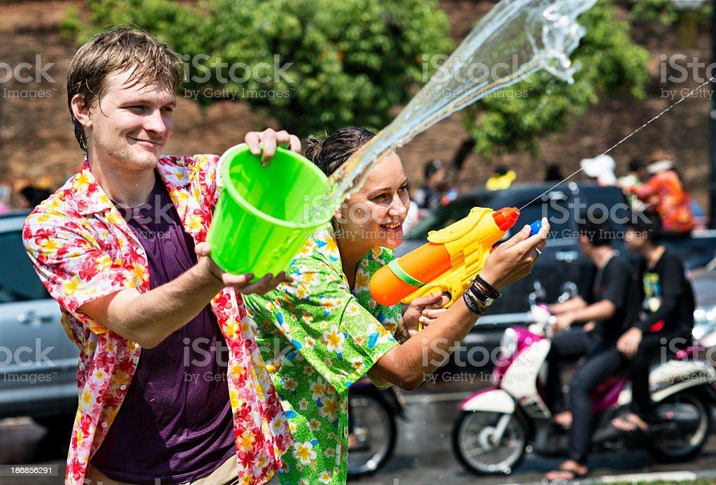 Song Khran Fun - Thai New year stock photo