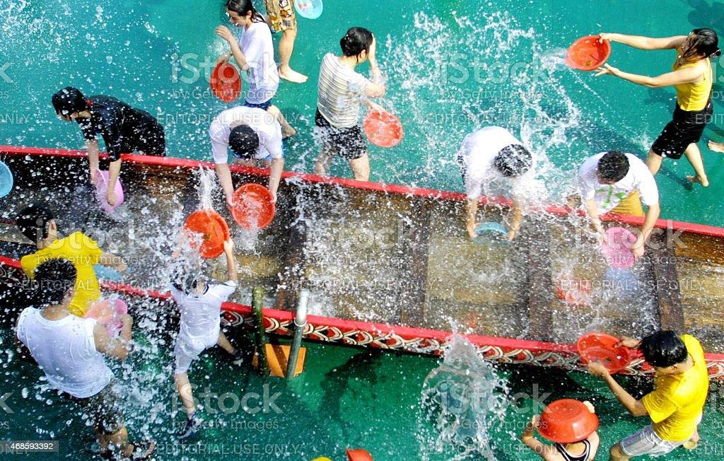 Songcheng,China,fun race splashing with water stock photo