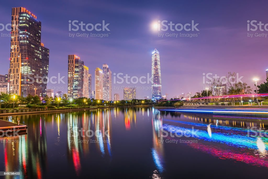Songdo Central Park at night in Incheon, South Korea stock photo