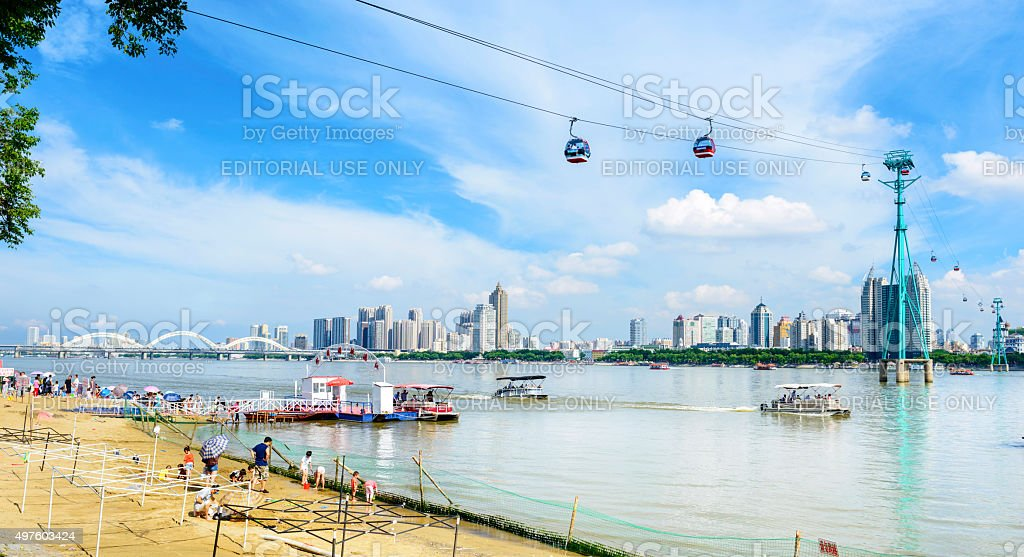 Songhua River and Harbin City stock photo