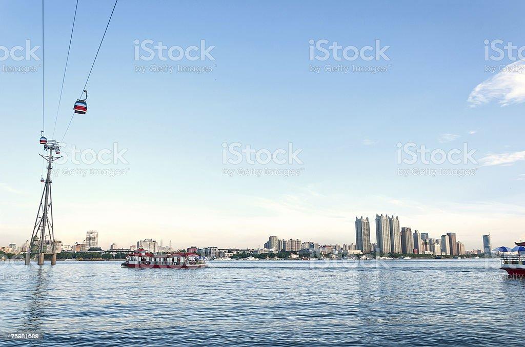 Songhua River at dusk royalty-free stock photo