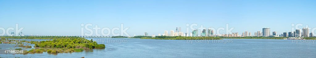 Songhua River & Harbin City stock photo